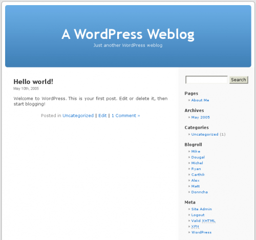 The default WordPress theme {Wikimedia Commons}