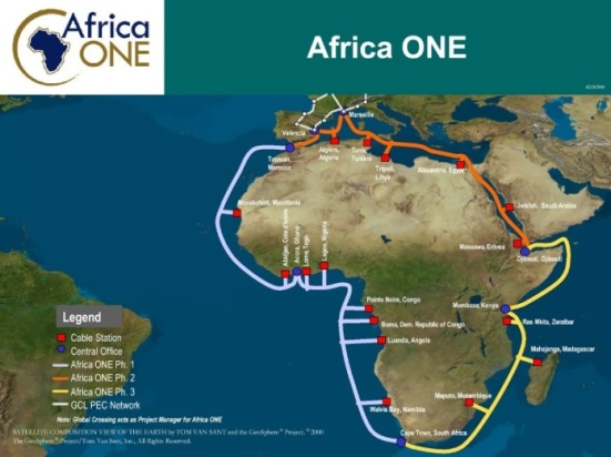 Africa ONE cable map
