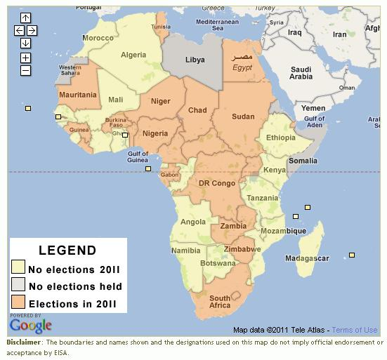 eisa african elections 2011 map