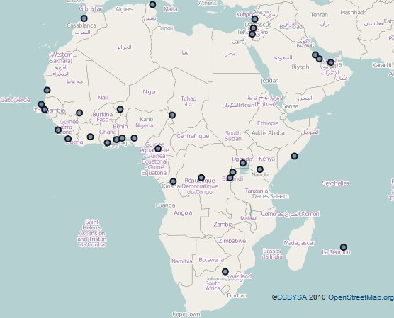 ISOC Geographic Locations in Africa