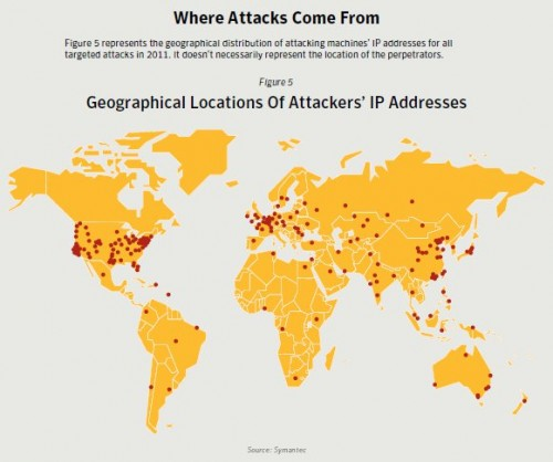 Symantec IP Attack Locations - 2011